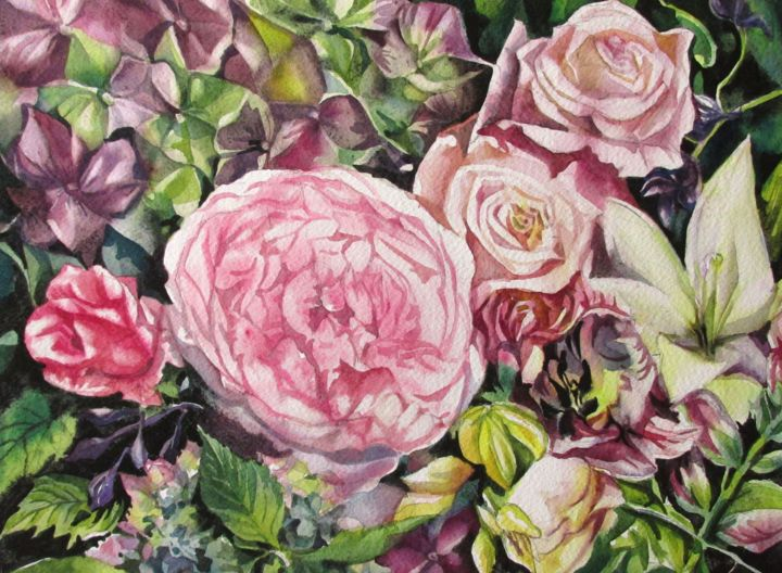 Romantic bouquet. - Painting,  12x16x0.4 in, ©2019 by Alfred Ng -                                                                                                                                                                                                                                                                                                                                                                                                                                                                                                                                              Illustration, illustration-600, Flower, bouquet, flower, valentine bouquet, spring flower, garden, nature, flower bouquet, vatentine's day