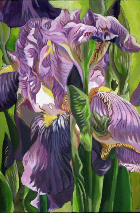 """Painting titled """"irises in the garden"""" by Alfred Ng, Original Art, Acrylic"""