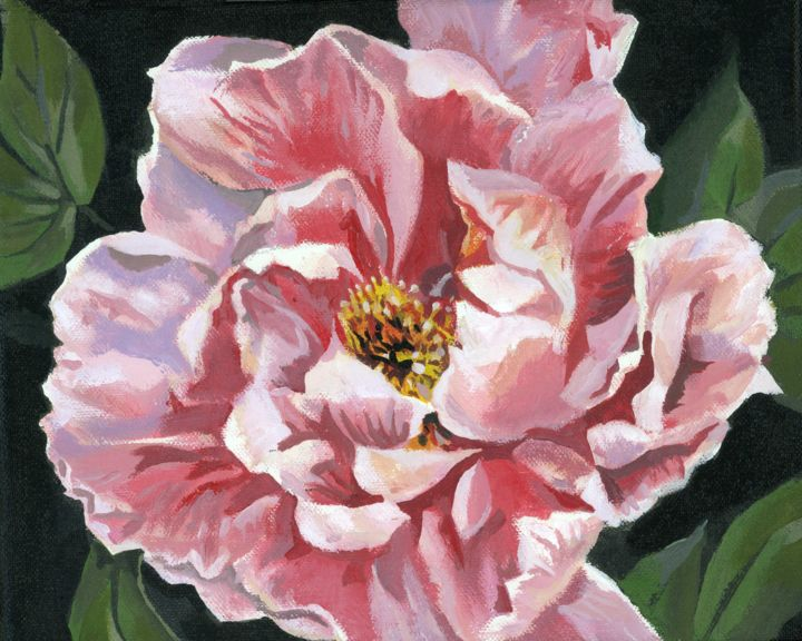 """Painting titled """"pink peony"""" by Alfred Ng, Original Art, Acrylic"""