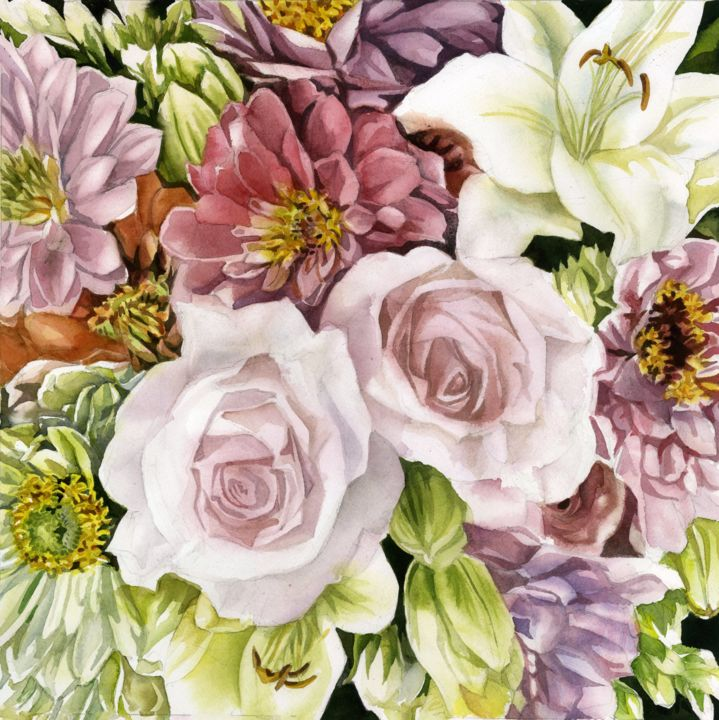 """Painting titled """"spring bouquet"""" by Alfred Ng, Original Art, Watercolor"""