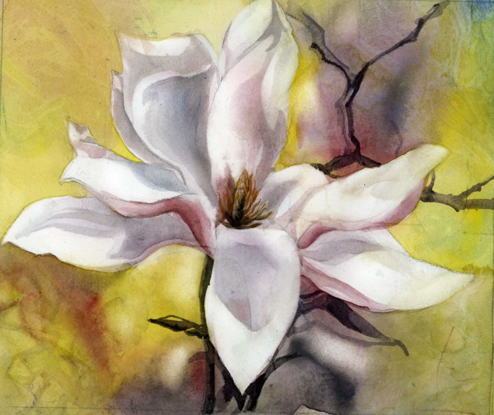 """Painting titled """"magnolia in pink wa…"""" by Alfred Ng, Original Art, Watercolor"""
