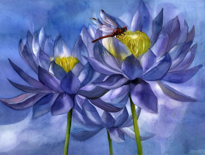 """Painting titled """"waterlily with red…"""" by Alfred Ng, Original Art, Watercolor"""