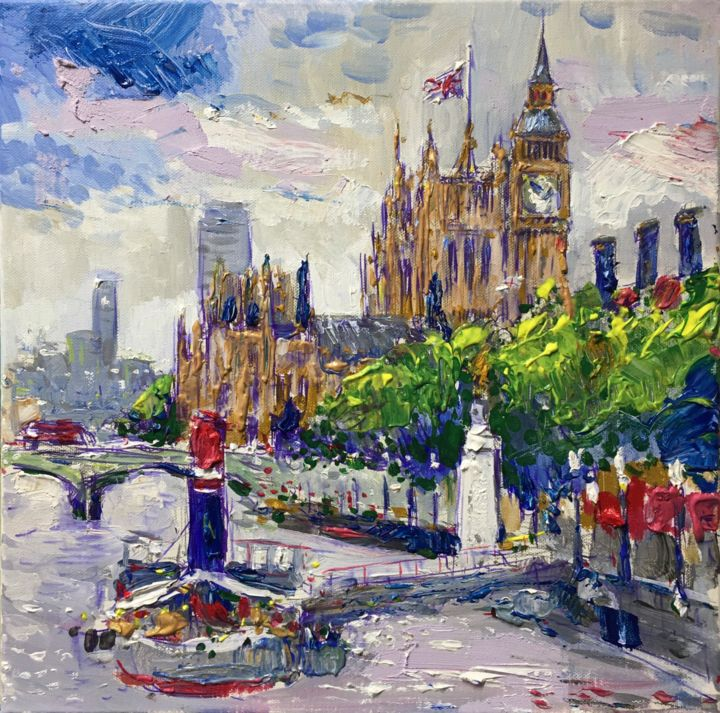 """Painting titled """"London and River Th…"""" by Altin Furxhi, Original Art, Acrylic Mounted on Stretcher frame"""