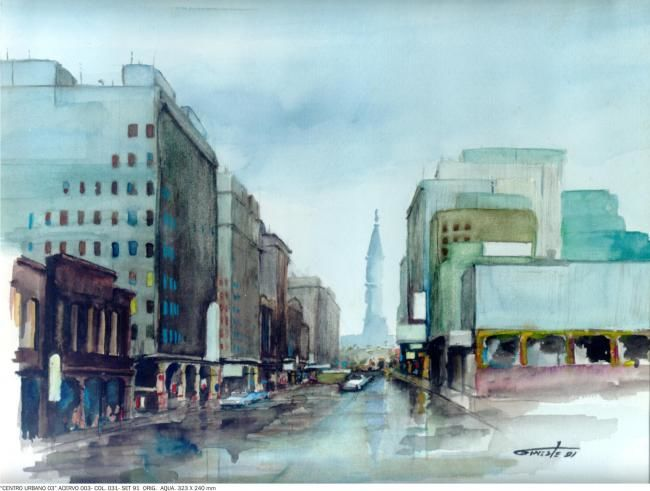 Centro urbano - Painting,  9.5x12.6 in, ©2008 by Gineste -