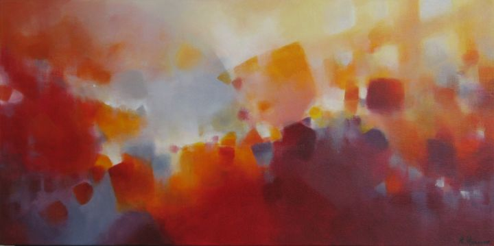 Soif d'espace - Painting,  15.8x31.5x0.8 in, ©2013 by Anne-Lise Hammann -                                                                                                                                                                                                                                                                                                                                                                                                                                                                                                  Abstract, abstract-570, Abstract Art, Paysage, lumière, carrés, formes abstraites, rouge, bordeaux, bleu