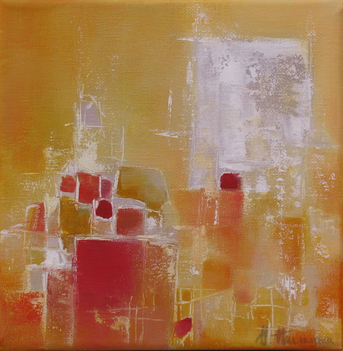 Senteurs d'ailleurs - Painting,  7.9x7.9x0.8 in, ©2010 by Anne-Lise Hammann -                                                                                                                                                                                                                                                                                                                                                          Abstract, abstract-570, Jaune, blanc, orange, atmosphère estivale, abstraction
