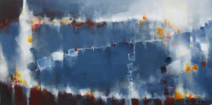 Symphonie nocturne - Painting,  15.8x31.5x0.8 in, ©2014 by Anne-Lise Hammann -                                                                                                                                                                                                                                                                                                                                                                                                          Abstract, abstract-570, Landscape, Espace, nuit, bleu, lumière, paysage abstrait