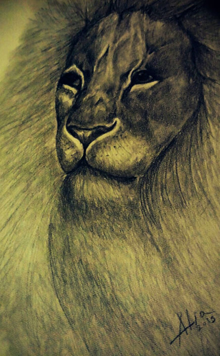 Lion drawing 2015 by alia beydoun portraiture paper animals lion