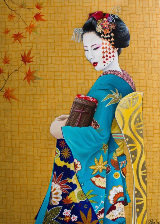 """Painting titled """"November Maiko"""" by Alice Asnaghi, Original Art, Acrylic"""
