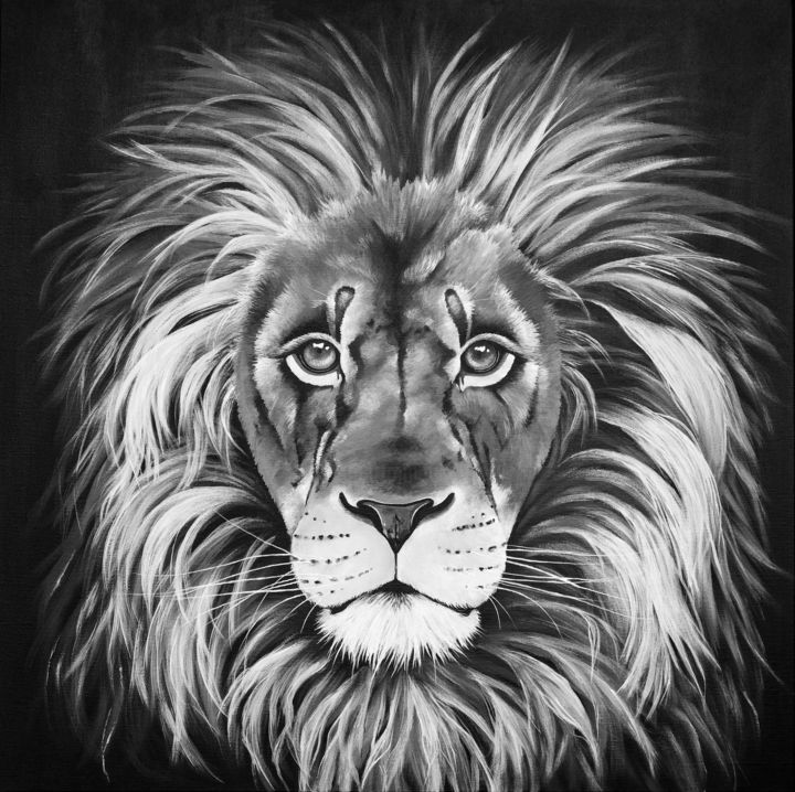 """Painting titled """"Lion"""" by Alice Asnaghi, Original Art, Acrylic"""