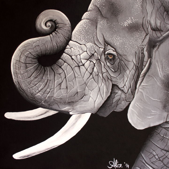 """Painting titled """"Elephant"""" by Alice Asnaghi, Original Art, Acrylic"""