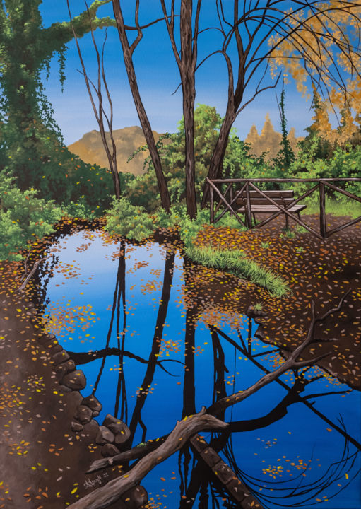 """Painting titled """"The Water Pathway"""" by Alice Asnaghi, Original Art, Acrylic"""