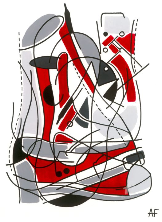 """Painting titled """"Abstract #2 red sne…"""" by Alice F, Original Art, Acrylic"""