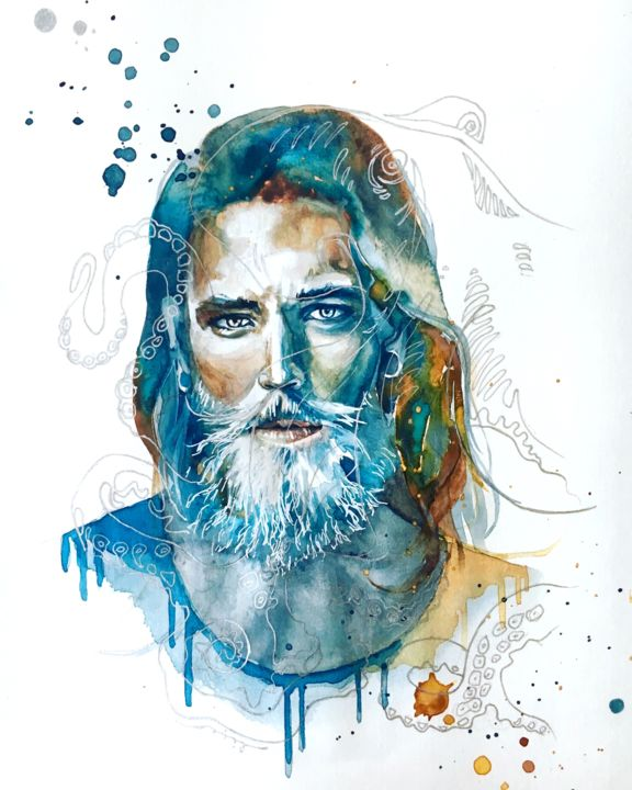 """Painting titled """"Poseidon"""" by Licea, Original Art, Watercolor"""
