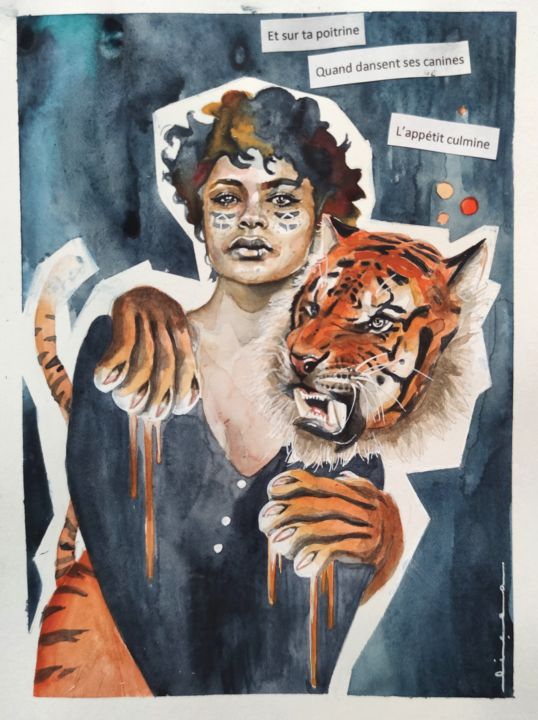 wild - Painting,  11.7x8.3 in, ©2020 by Licea -                                                                                                                                                                                                                                                                                                                                                                                                                                                                                                                                              Surrealism, surrealism-627, Women, femme, femmes, tigre, tiger, woman, free, savage, wild