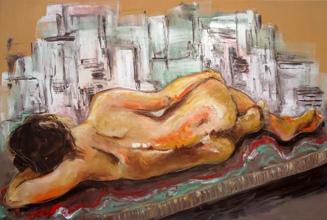Painting,  120 x 80 cm ©2012 by Alicia Besada -  Painting, Nudes in Art, nude urban woman
