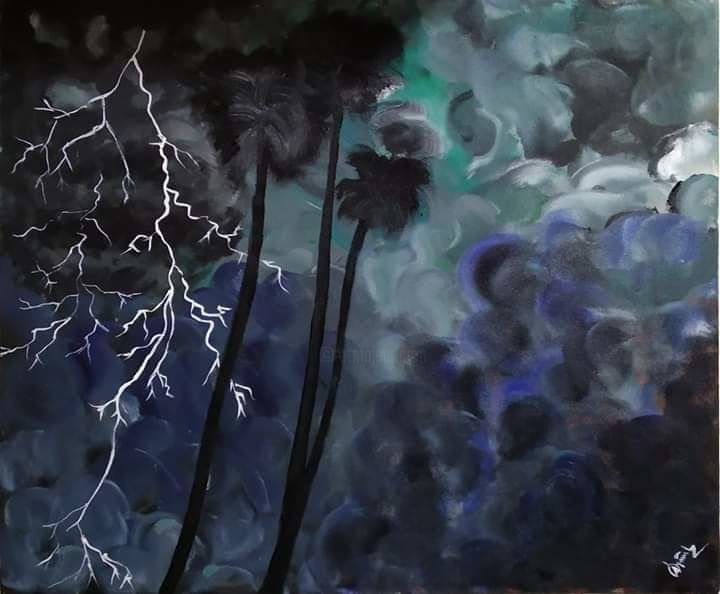 """Painting titled """"Night of the storm"""" by Alimul Islam, Original Art, Acrylic"""