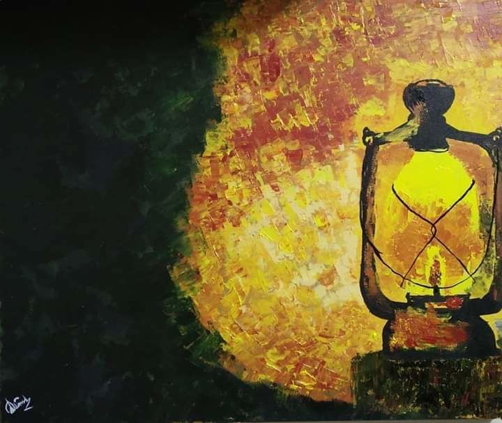 """Painting titled """"The antique light"""" by Alimul Islam, Original Art, Acrylic"""