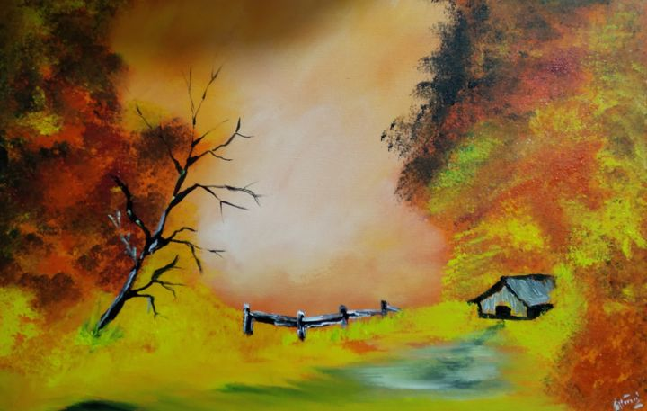 """Painting titled """"Autumn warm"""" by Alimul Islam, Original Art, Acrylic"""