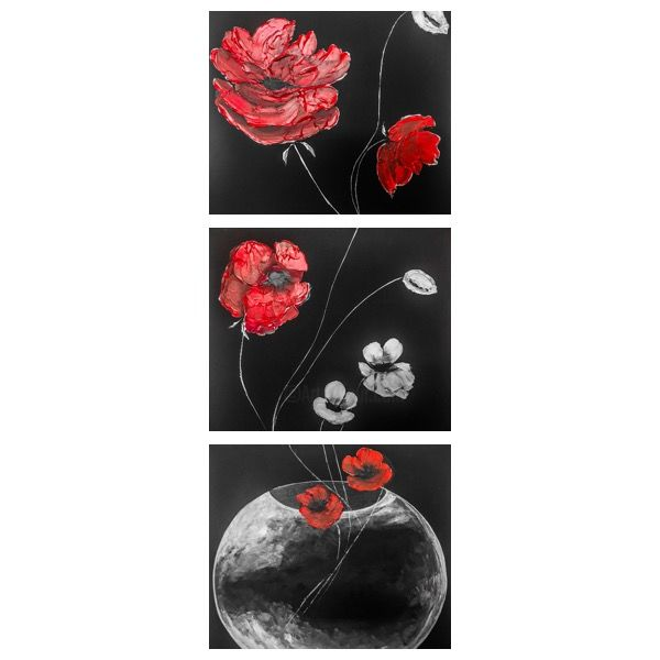 Poppy - Painting,  59.1x19.7x0.8 in, ©2017 by Alina Lidia Tanase -                                                                                                                                                                                                                                                                                                                                                                                                                                                                                                                                                                                                                                                                                  Abstract, abstract-570, Flower, Abstract Art, Black and White, Botanic, Still life, poppy, 3D, gesso, flowers, nature, red, black