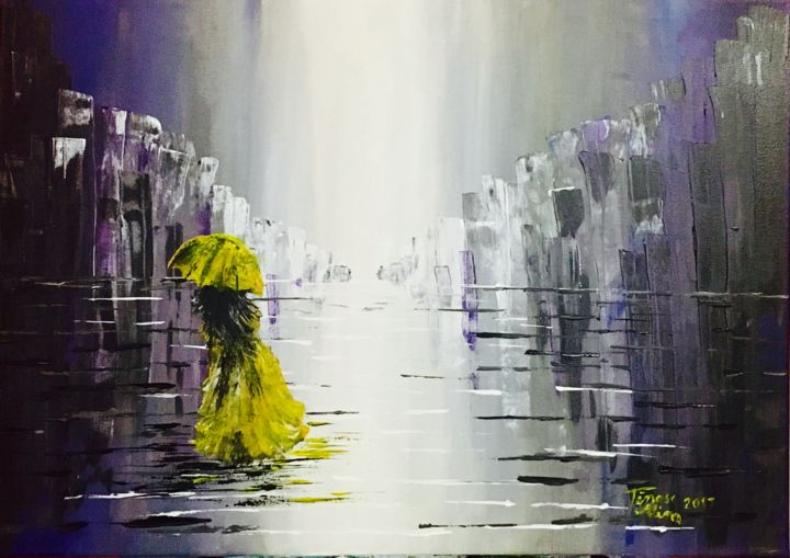 Second night alone - Painting,  19.7x27.6x0.8 in, ©2017 by Alina Lidia Tanase -                                                                                                                                                                                                                                                                                                                                                                                                                                                                                                                                                                                                                                                                                                                                                                          Abstract, abstract-570, Cities, Women, Architecture, Cartoon, Cityscape, woman, yellow, city, night, rain, umbrella, cityscape, urban, alone