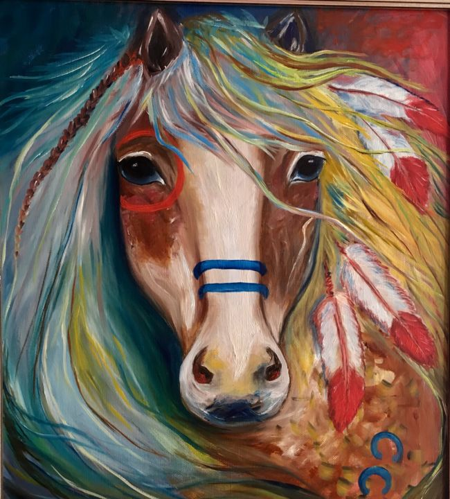 Indian war horse - Painting,  19.7x15.8x2 in, ©2017 by Alina Lidia Tanase -                                                                                                                                                                                                                                                                                                                  Abstract, abstract-570, Horses, horse, indian, war