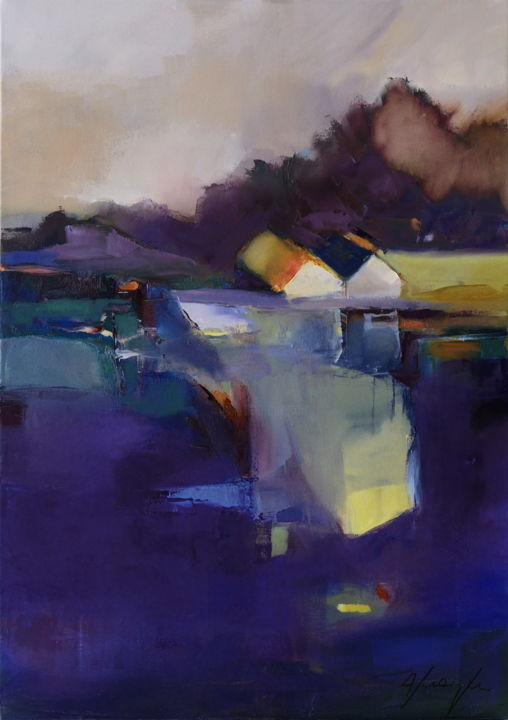 """Painting titled """"Over the dike"""" by Alina Matykiewicz, Original Art, Oil Mounted on Wood Panel"""