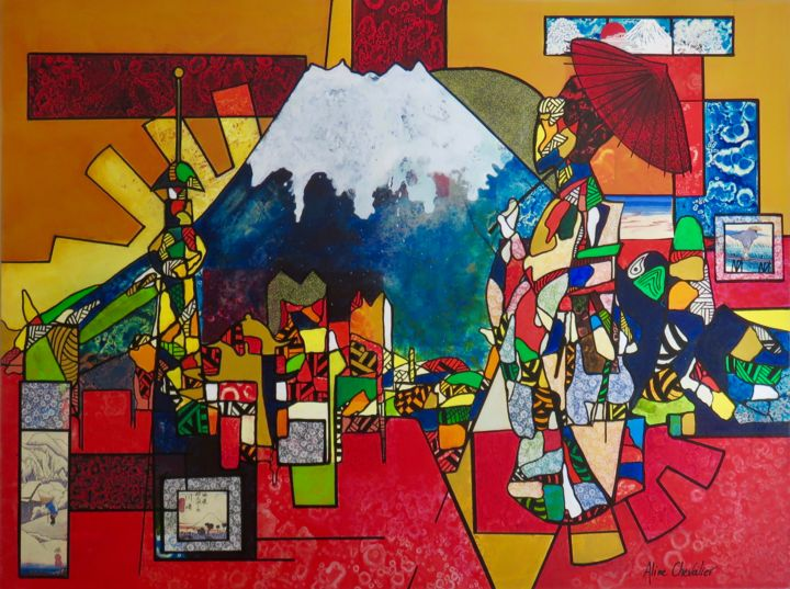 Tokyo - Painting,  36x48x2 in ©2019 by Aline Chevalier -                                                                        Conceptual Art, Paper, Architecture, Cities, skyline, Japan, Tokyo