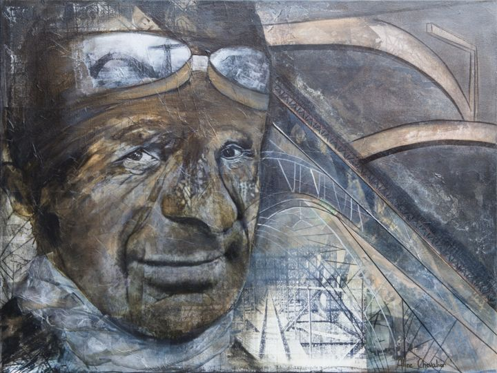 """Collages titled """"Conductor"""" by Aline Chevalier, Original Art, Paper"""