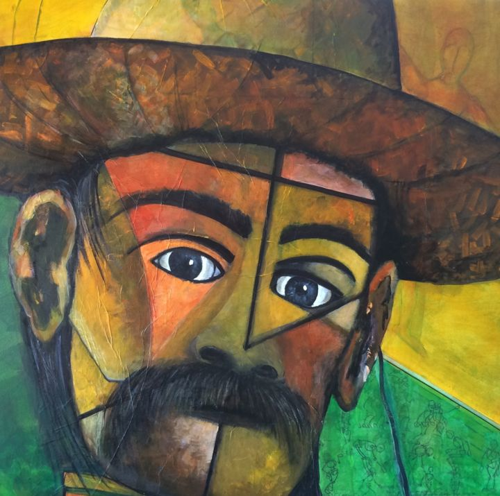 """Collages titled """"Giant of Guadalajara"""" by Aline Chevalier, Original Art, Paper"""