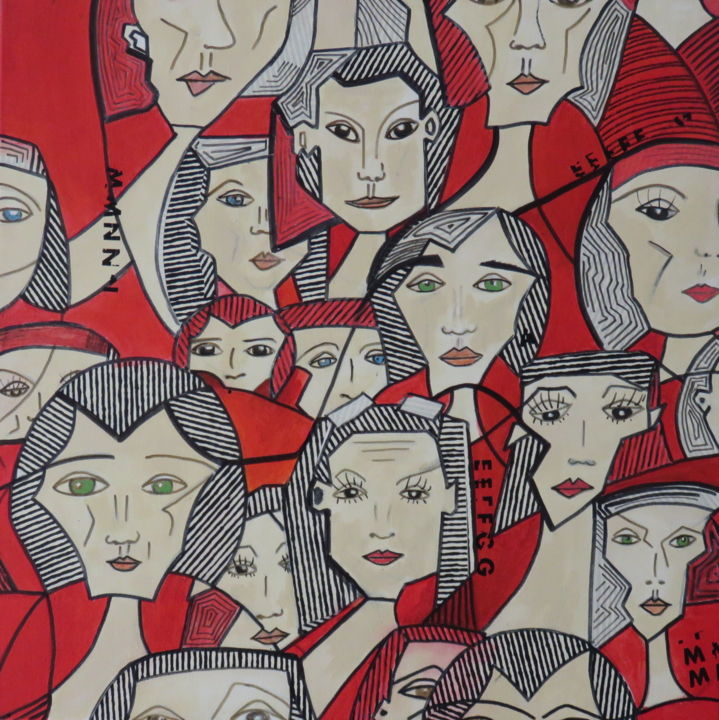 """Collages titled """"Women on the Move"""" by Aline Chevalier, Original Art, Paper cutting"""
