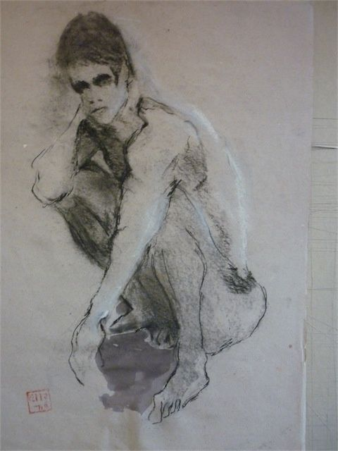 Nu masculin - Drawing,  50x70 cm ©2009 by aliona -