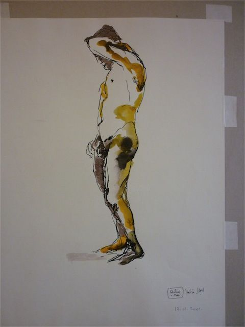 Nu masculin - Drawing,  45x55 cm ©2001 by aliona -