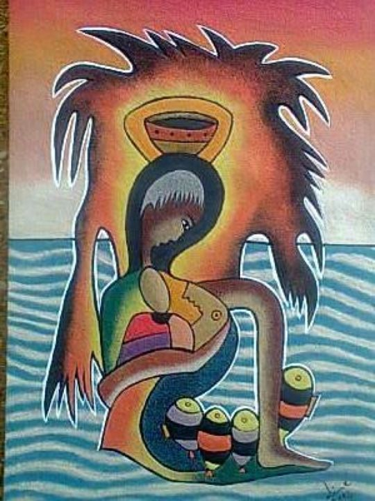"""Painting titled """"Famille"""" by Dime, Original Art,"""