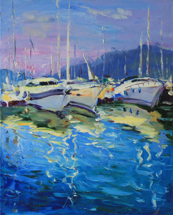 """""""Private Marina"""" - Painting,  19.6x15.7x0.8 in, ©2018 by Alisa Onipchenko -                                                                                                                                                                                                                                                                                                                                                                                                                                                                                                                                                                                                                                                                                                                                                                                                                                                                                                                                                                                                                                                                                                                                                                                                                                                                              Expressionism, expressionism-591, Beach, Boat, Landscape, Seascape, Yacht, yacht art, seascape painting, sea art, wall art, oil art, oil painting, painting for sale, art for  sale, landscape painting, original art, original painting, landscape oil, oil on canvas, canvas art, impressionism, expressionism, contemporary art, boats painting, boats art, art gift"""