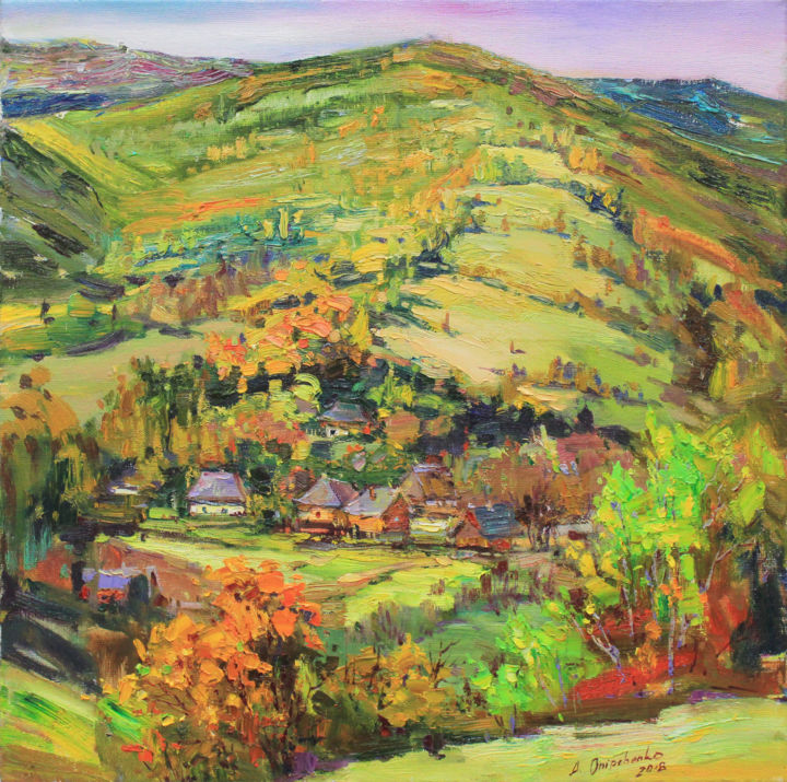 """""""Autumn in the mountains"""" - Painting,  19.7x19.7x0.8 in ©2018 by Alisa Onipchenko -                                                                                                                                Classicism, Expressionism, Impressionism, Realism, Home, Landscape, Mountainscape, Nature, Seasons, mountains landscape, oil landscape, landscape painting, plein air painting, home decor art, oil painting, original painting, painting for sale, art for sale, nature painting, wall art, autumn landscape, impressionism, artist, realism, bright colors, stretched painting, mountains painting, colorful painting, oil on canvas"""