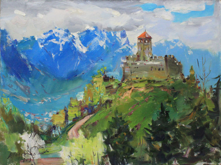 """""""Zumelle Castle"""" - Painting,  23.6x31.5x0.8 in, ©2019 by Alisa Onipchenko -                                                                                                                                                                                                                                                                                                                                                                                                                                                                                                                                                                                                                                                                                                                                                                                                                                                                                                                                                                                                                                                                                                                                                                                                                                                                              Expressionism, expressionism-591, Cities, Cityscape, Landscape, Mountainscape, Nature, castle painting, original painting, oil painting, oil on canvas, oil art, oil landscape, ukrainian artist, art for sale, impressionism, expressionism, realism, canvas landscape, italy, bright painting, mountains painting, landscape painting, blue painting, plein air painting, signed painting, nature painting"""