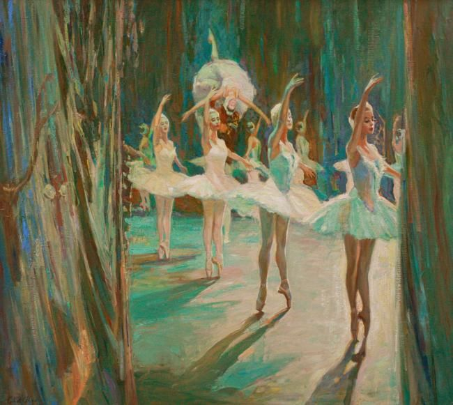 """Odette and the Swans"" (ballet Swan Lake) oil on canvas - Painting,  107x120 cm ©2013 by Alisa Gibet -                            Classicism, ballet"