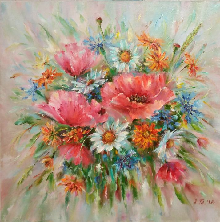 Summer bouquet with poppies/Летний букет с маками - © 2018 bouguet of flowers, bright flowers, flower paintings, flowers oil, interior painting, herbs, poppies, red poppies, flower still life, summer bouguet Online Artworks