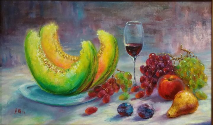Fruit and some wine / Фрукты и немного вина - Painting,  36x59x2 cm ©2018 by Alla Tatarinova -                                                                                                        Impressionism, Realism, Still life, Food & Drink, Kitchen, Rural life, Seasons, still life with fruit, a glass of wine, melons, grapes, peaches, pears, plums, juicy fruits