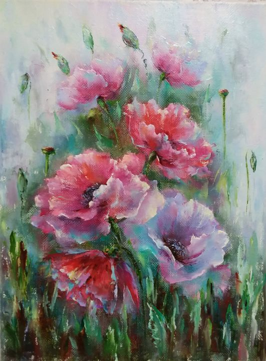 Poppy blossom/ Маковое цаетение - © 2018 bouguet  of poppies, flowers oil, flower paintings, bright flowers, interior painting, flower still life, red poppies Online Artworks