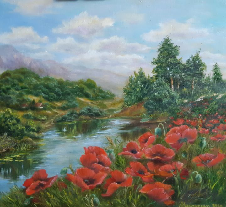 """Painting titled """"Маки"""" by Алла Мироненко, Original Art, Oil"""