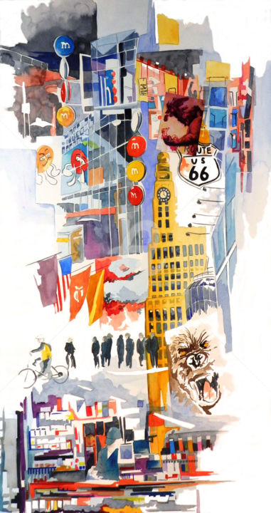 king kong - ©  manhattan, braodway, new york, carnet de voyage, ville Online Artworks