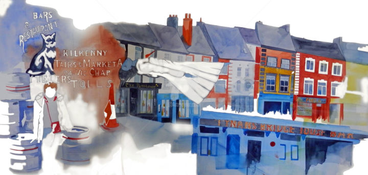 kats.jpg - Painting,  19.7x39.4x1.2 in, ©2017 by Allais Rabeux -                                                                                                                                                                                                                                                                                                                                                                                                                                                      Figurative, figurative-594, Cityscape, Cities, irlande, ville, kilkenny, carnet de voyage, urbain