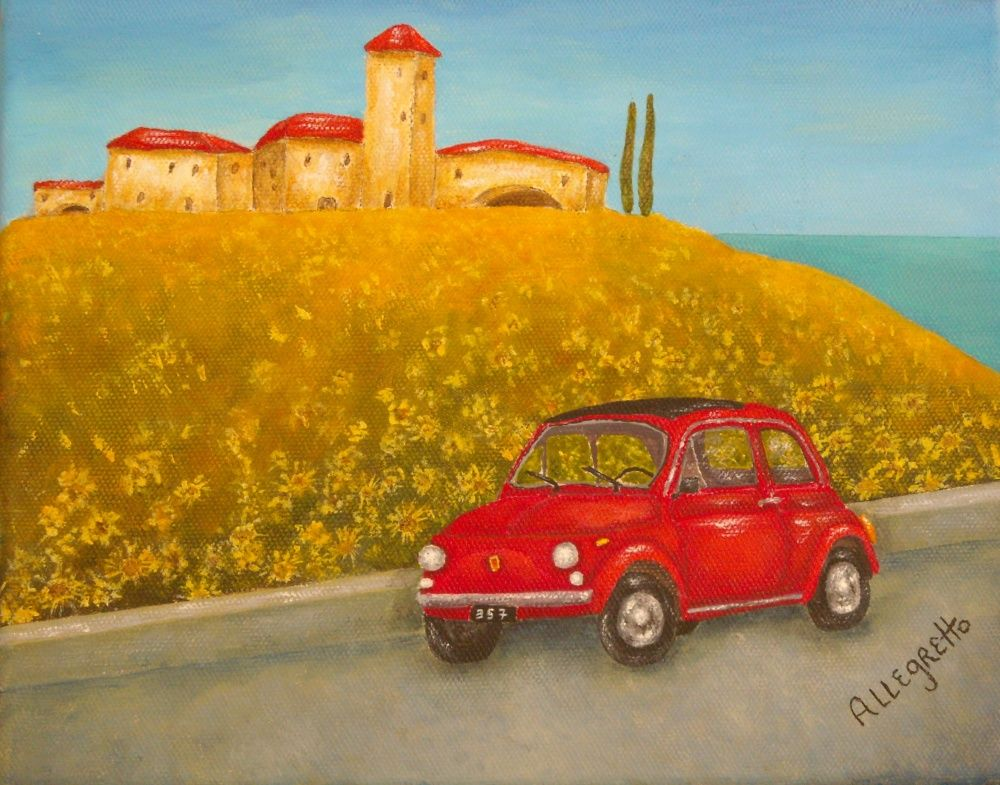 Vintage Red Fiat 500 -  Featured Painting