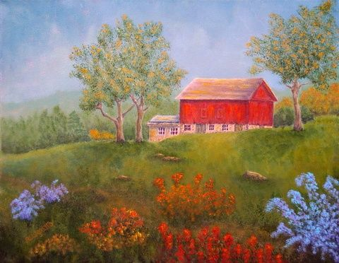 FEATURED PAINTING - NEW ENGLAND RED BARN IN SUMMER