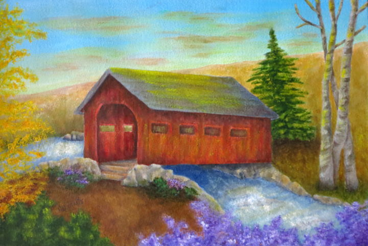 NEW ENGLAND RED COVERED BRIDGE - © 2019 covered bridge, red covered bridge, New England, landscape, Connecticut, wooden bridge, river, stream, plein air painting, rural setting, Easy Haddam, Pamela Allegretto, Allegretto art, Pamela Allegretto Franz, Pam Franz, contemporary art, folk art, red bridge, ponte, paesaggio, fiume, travel, tourism, Connecticut State Parks, Devil's Hopyard, wild flowers, spring, summer, pine tree Online Artworks