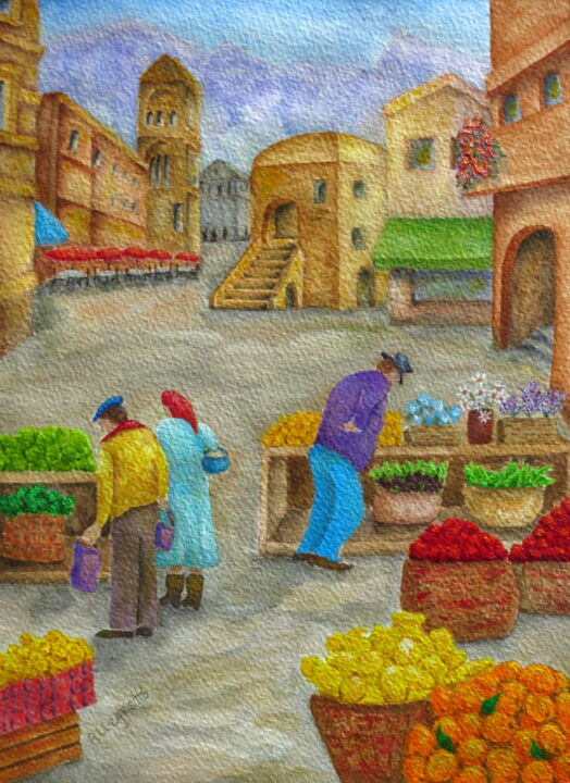"""Painting titled """"MORNING MARKET IN C…"""" by Allegretto, Original Art, Acrylic"""
