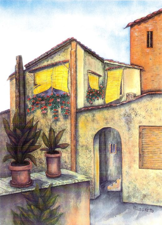 """Painting titled """"Via Roma"""" by Allegretto, Original Art, Watercolor"""