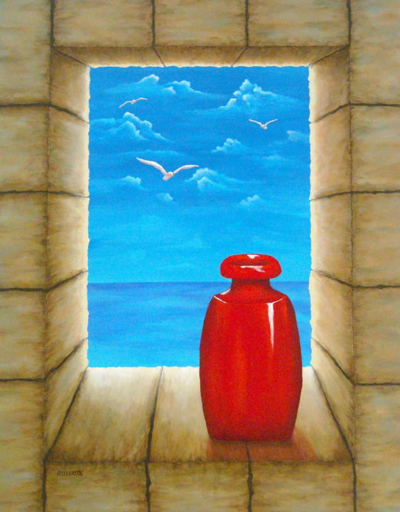 View From Castle - Painting,  28x22 in, ©2008 by Allegretto -                                                                                                                                                                                                                                                                                                                                                                                                                                                                                                                                                                                                                                                                                                                                                                                                                                                                                                                                                                                                                                                  Hyperrealism, hyperrealism-612, Still life, original, painting, seascape, view, trompe l'oeil, paesaggio marino, castle, castello, water, ocean, sea, seagulls, gabbiani, italy, italia, italian scene, tourism, travel, tranquil